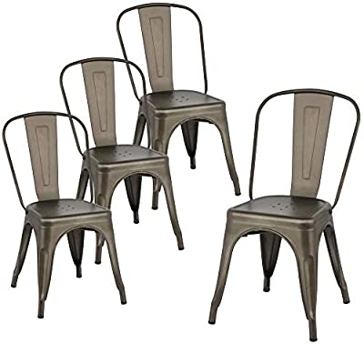 Yaheetech 18 Inch Classic Iron Metal Dinning Chair Indoor-Outdoor Use Chic Dining Bistro Cafe Side Barstool Bar Chair Coffee Chair Set of 4