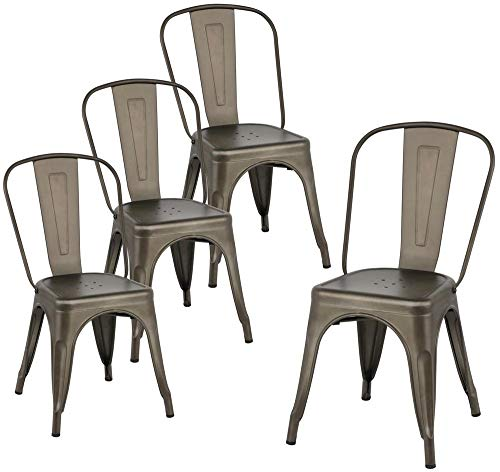 Yaheetech Metal Dining Chairs Set of 4 Stackable Dining Room Chairs Side Chairs with Back, Each Chair Load Capacity: 340 lbs,Gun Metal