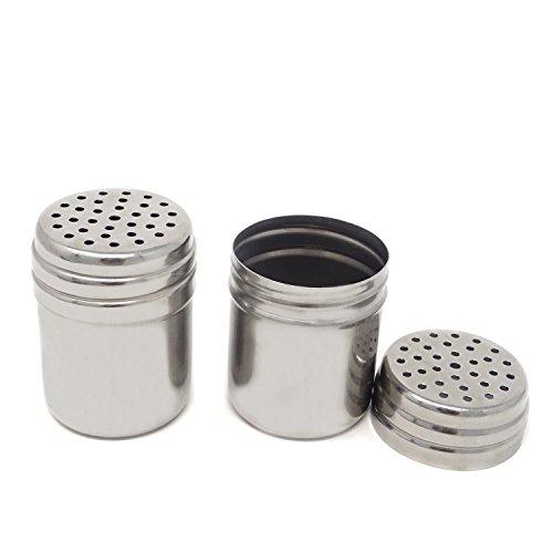 (Honbay 2PCS 5 oz Stainless Steel Dredge Salt Sugar Spice Pepper Shaker Seasoning Cans)