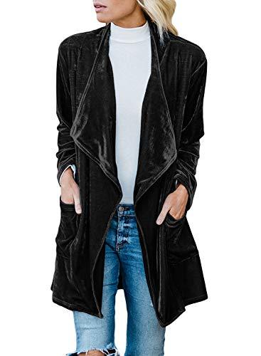 Lovezesent Womens Long Sleeves Open Front Blazer Casual Loose Drape Velvet Jacket Coat with Pockets Black Large -