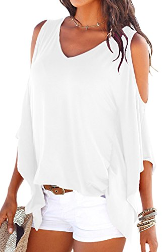 Cutiefox Womens Best Cotton Cold Shoulder Dolman Crop T Shirt Top Blouse White M