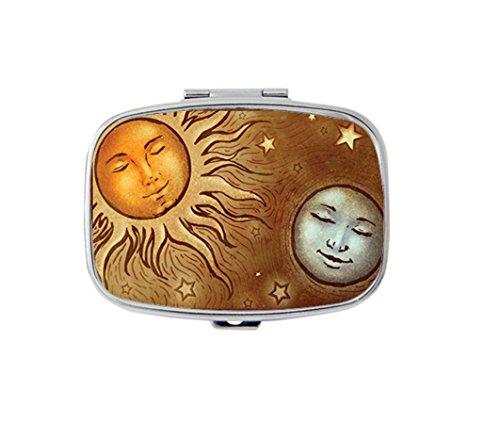 Sun And Moon Celestial Custom Silver Stylish, slim design Pill Box Holder,rectangle Medicine Vitamin Organizer Pill case - Moon Silver Bag