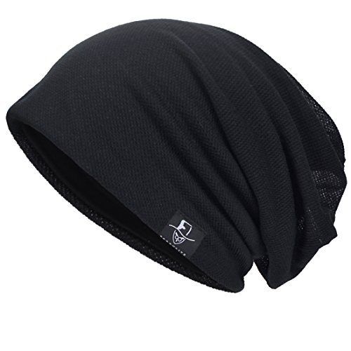 (VECRY Men Slouch Hollow Beanie Thin Summer Cap Skullcap (Solid Black1))
