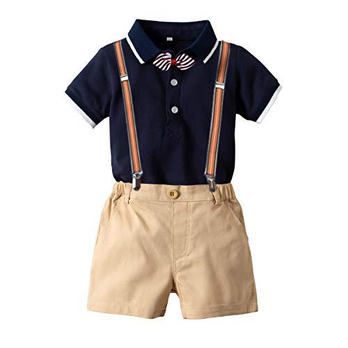 (Baby Boys Short Sleeve Gentleman Outfit Suits,Infant Boys Short Pants Set, Short Sleeve Romper Shirt+Suspender Pants +Bow Tie 4Pcs Set (Dark Blue, 18-24M/95))