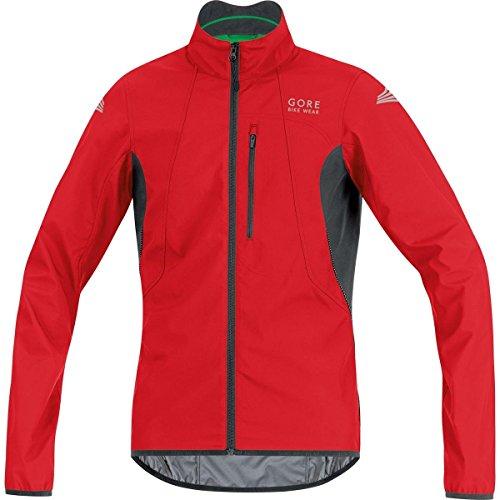 (GORE BIKE WEAR Men's Cycling Jacket, Super-Light, GORE WINDSTOPPER,  WS AS Jacket, Size M, Red/Black, JELECO)