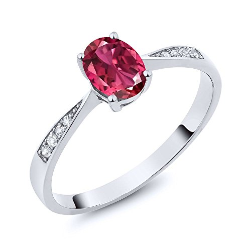10K White Gold Diamond Ring with 0.76 Ct Oval Pink Tourmaline AA (Ring Size 6) - Tourmaline White Ring