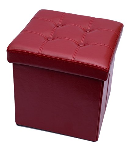 Fsobellaleo Faux Leather Folding Storage Ottoman Footrest Stool Coffee Table Red15