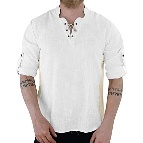 Cotton Linen Shirt Men ♣ Male Patchwork Blouse Retro Short/Long Sleeve Drawsting Tops Dress Shirts