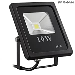Gianor 10W LED Flood Lights, 12V DC Ultra Bright Waterproof IP66 Security Lights for Outdoor Lighting Daylight White, 6000K,1000 Lumen Floodlights