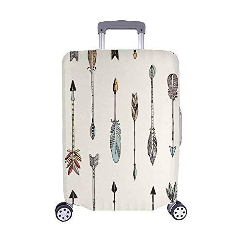 INTERESTPRINT Luggage Protectors Suitcase Covers Tribal Arrows Patten on Cream Background for 22-25 Inch Luggage ()