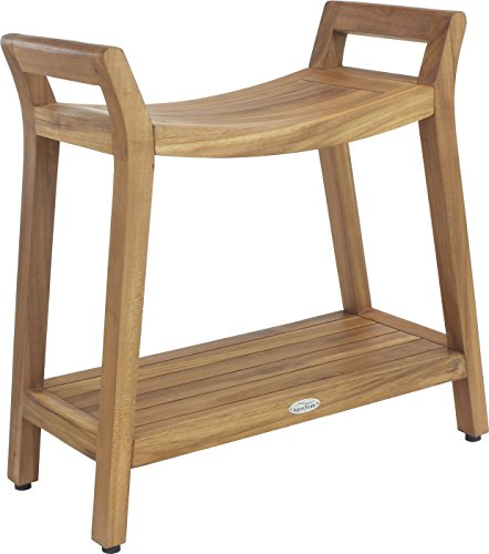 AquaTeak Asia Ascend Teak Shower Bench with Elevated Height and Shelf