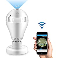 Home Security System Camera, Konesky Wifi Camera, 360 Degree Wide View Panoramic Fisheye Camera 1080P FHD Camera with LED Bulb E27 Support Motion Detection