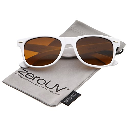 zeroUV - Classic Driving Blue Blocking Amber Tinted Lens Horn Rimmed Sunglasses 55mm (Shiny White / - Girl White Glasses