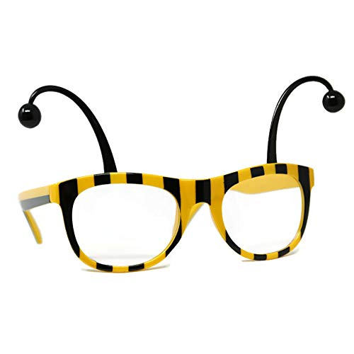 Bumble Bee Glasses Adult Costume Accessory Black Yellow Antennae Clear Lense