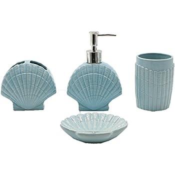 Nautical Bathroom Accessories Sets.Amazon Com 4 Piece Off White Sea Shell Nautical Bathroom