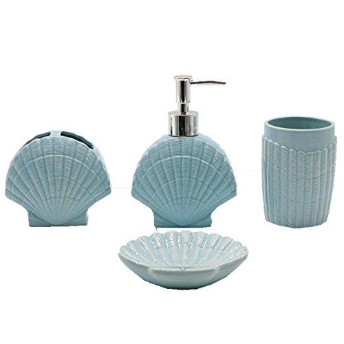 Shozafia Shell Shape Ceramic Bathroom Accessories Set, Ocean Blue Soap Dispenser, Toothbrush Holder, Soap Dish & Tumbler Nautical Bath Sets Complete