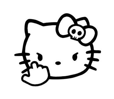 Hello Kitty Middle Finger Decal Vinyl Sticker|Cars Trucks Vans Walls Laptop| Black |5.5 x 4.5 in|CCI1204
