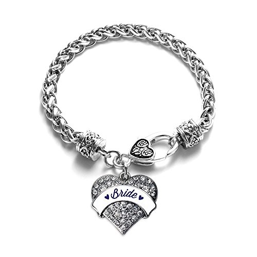 Navy Blue Bride Pave Heart Bracelet Silver Plated Lobster Clasp Clear Crystal Charm