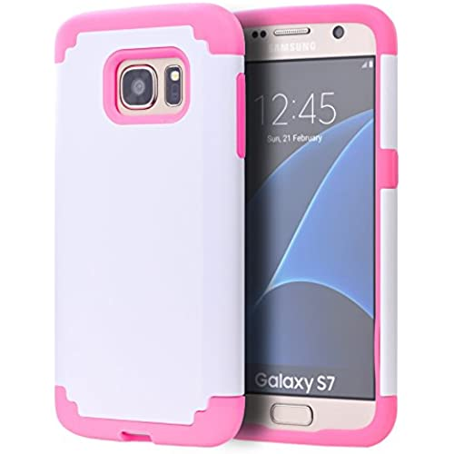 S7 Case,Galaxy S7 Phone Case,SAVYOU 2 In 1Dual Layer Hybrid Gel Shock Absorbing Case Armor Defender Case for Samsung Galaxy S7(White Pink) Sales