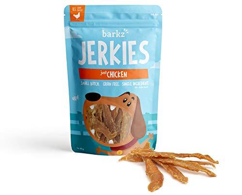 Barkz Jerkies Just Chicken (8 oz) - Single-Ingredient Chicken Jerky Dog Treats - Made in USA