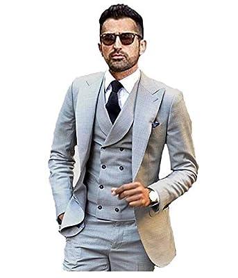 JY Men's Fashion 3 Pieces Men Suits Wedding Suits for Men Groom Tuxedos