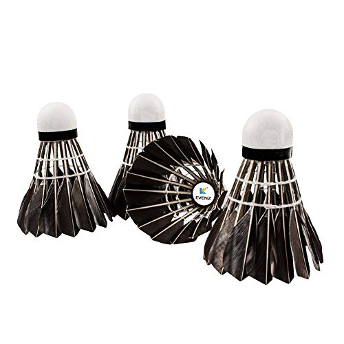 KEVENZ 12-Pack Advanced Goose Feather Badminton Shuttlecocks,Nylon Feather Shuttlecocks High Speed Badminton Birdies Balls with Great Stability and Durability (12-Pack,Black) by KEVENZ (Image #2)
