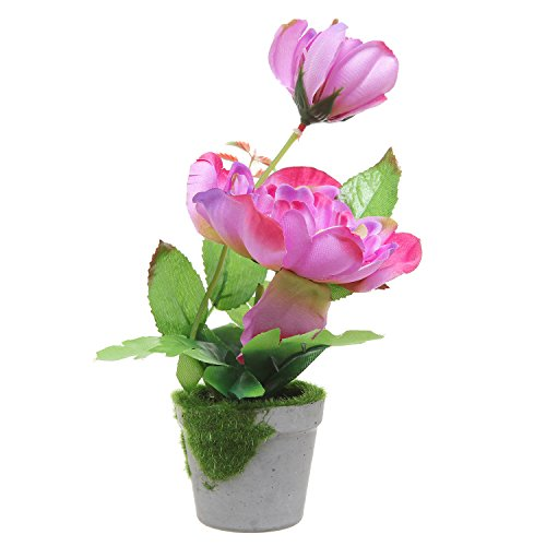 potted artificial purple silk peony flower plant indoor