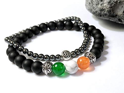Irish Flag Bracelet - Celtic Bracelet - Onyx Hematite Stone Bracelet Set - CUSTOM SIZED stretch bracelet