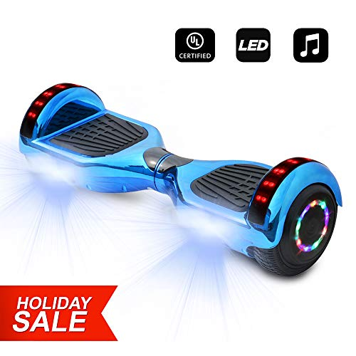 6.5 inch Wheels Electric Smart Self Balancing Scooter Hoverboard with Speaker LED Light - UL2272 Certified (Chrome Blue)