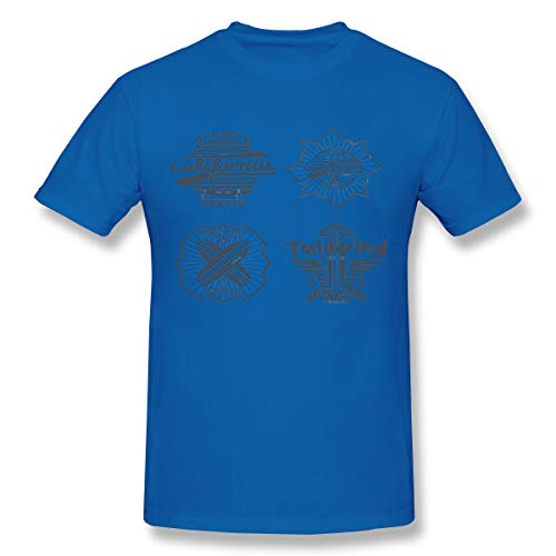 YILINGER Men's Big & Tall Shrink-Less Lightweight Crewneck T-Shirt Longboard Surfing ret Blue