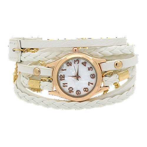 Watch White Bracelet Ladies (Charming Vintage Weave Wrap Leather Chain Bracelet Watch for Womens Ladies (White))
