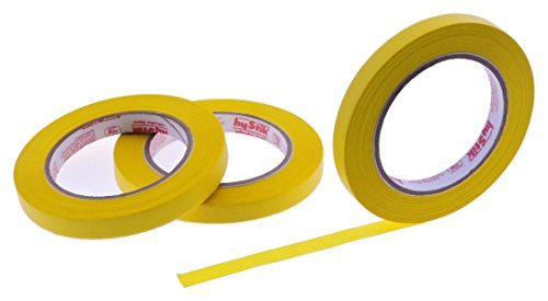 3pk 1/2'' in x 60yd Lemon Yellow Masking Tape Extra Sticky PRO Grade High Stick Special Project Painters Tape Painting Trim Arts Crafts School Home Office 21 Days 12MM x 55M .5 inch Banana Sunshine by SureStick