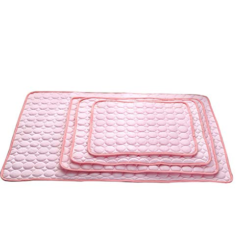 MZjJPN 1pc Pet Accessories Summer Cooling Mats Blanket Ice Pet Dog Bed Sofa Portable Tour Camping Yoga Sleeping Mats for Dogs Cats,Pink,70x56cm (Brisbane Furnitures Outdoor)