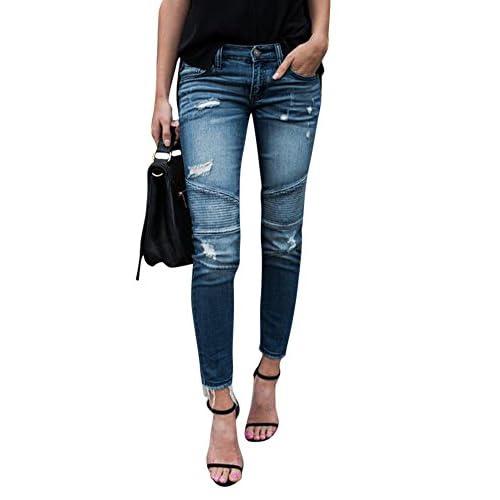 ec6c47a709 free shipping Mujer Elástico Flacos Vaqueros Leggings Push up Decoración De  Pliegues Pantalones Lápiz
