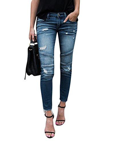 Mujer up Flacos Elástico Vaqueros De Zarco Pantalones Push Leggings Pliegues Decoración Lápiz rqH7rwX