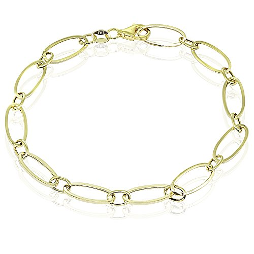 14k Gold Italian Lightweight Thin Oval Chain Link Bracelet