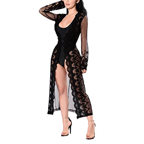 Long Length Swimming Costume (Womens Lace Sheer Mesh See Through Open Cardigan Long Top Dress Bikini Cover Up Black XL)