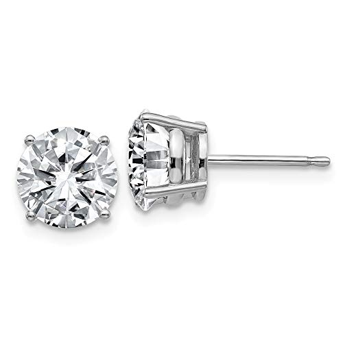 FB Jewels 14K White Gold 3.00ct. 7.5mm Round Moissanite 4-Prong Basket Post Earring ()