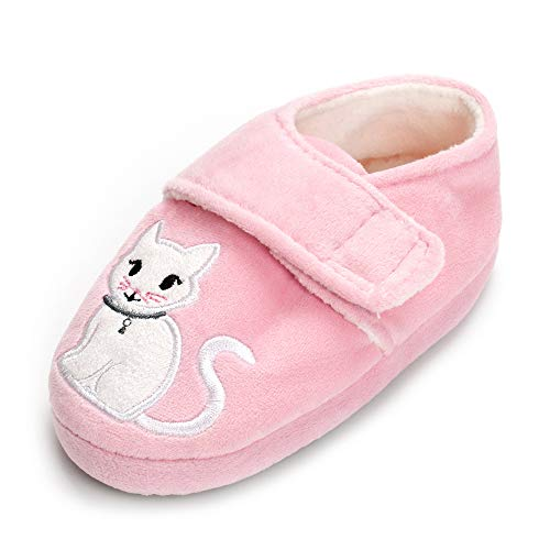ESTAMICO Toddler Girl's Warm Plush Soft Sole Indoor Slippers Animal Cats Winter House Shoes, Pink, US 7-8 M