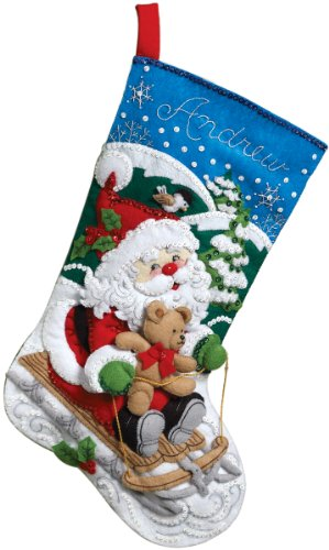 - Bucilla 18-Inch Christmas Stocking Felt Applique Kit, 86279 Santa's Sled