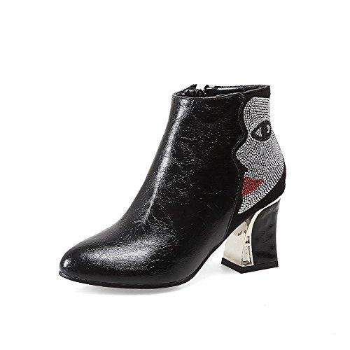 AllhqFashion Damen Reißverschluss Knöchel Hohe Blend-Materialien Hoher Absatz Stiefel, Schwarz, 38