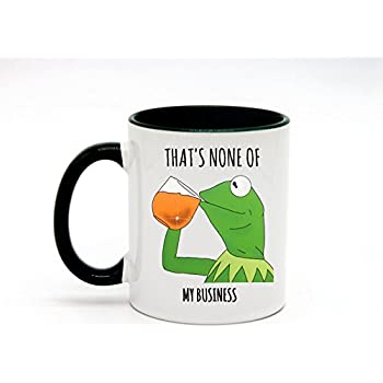 8eb83c80a5e1f 11 Ounce That's None Of My Business Coffee Mug or Tea Cup White+Hunter Green
