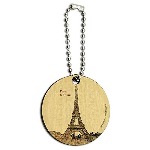 Paris, Je T'Aime I Love You Eiffel Tower City Map Wood Wooden Round Keychain Key Chain Ring