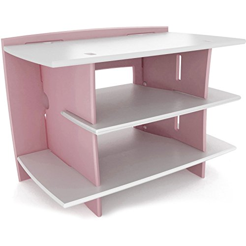 Legaré Kids Furniture Princess Series Collection, No Tools Assembly Gaming Center Stand, Pink and White by Legar