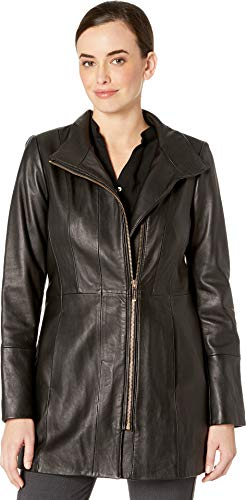 Cole Haan Women's Smooth Leather Car Coat w/Convertible Collar Black Medium