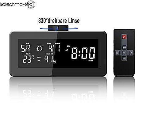 Radio Despertador Oculta cámara Oculta HD Detección de Movimiento estación meteorológica Reloj de Mesa Radio Vigilancia con Memoria MicroSD hasta 32 GB: ...