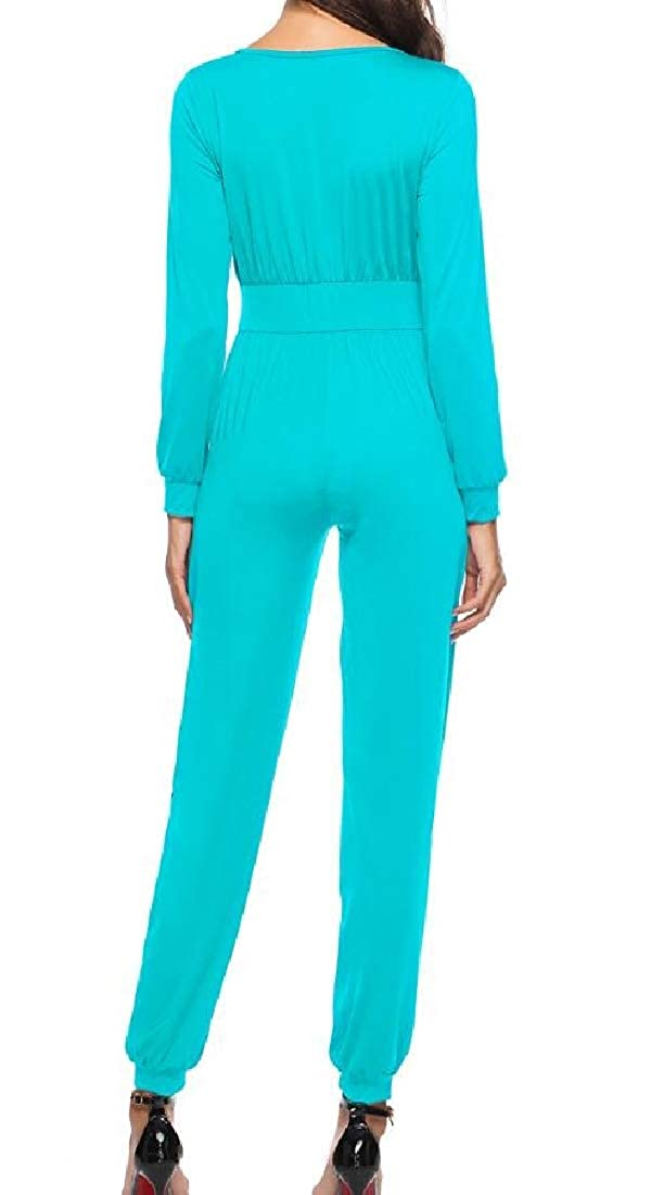Hajotrawa Womens Pleated Long Sleeve Plain Pocket Solid V Neck Playsuit Jumpsuits