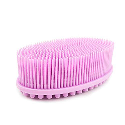 (1Pack -Pink) Bath & Shower Loofah Brush 2 in 1 Face & Body scrub Gentle body brush Skin 100% Better Scrubber silicone body brush for bath Massaging Brush