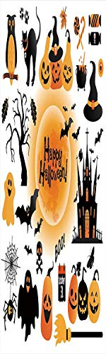 Halloween Decorations 3D Decorative Film Privacy Window Film No Glue,Frosted Film Decorative,All Hallows Day Objects Haunted House Owl and Trick or Treat Candy,for Home&Office,23.6x70.8Inch Orange -