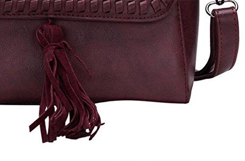 Bags Simple Pu Women's Personality Shoulder JPFCAK Tassel Oblique PU Handbag Fashion Leather D Handbag Bag Retro Ms wC4qZO